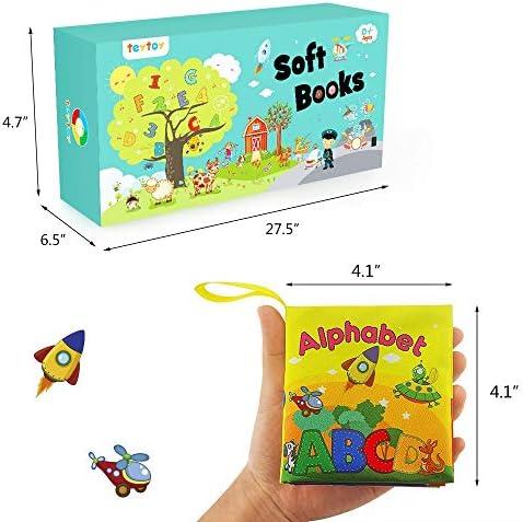 TOYMYTOY Tejido de tela para beb/é Libros de tela no t/óxica Libros educativos con sonido de Crinkle BB Dispositivo interno Paquete de 4