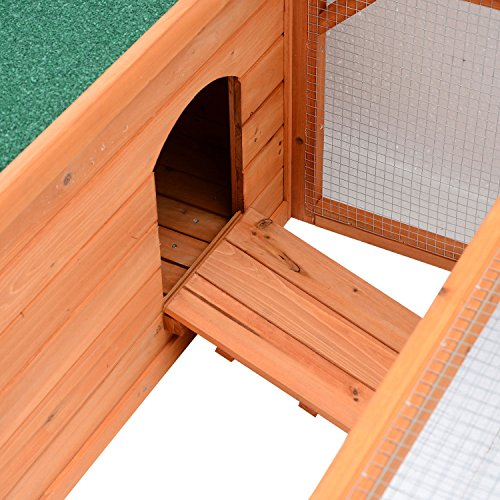 Pawhut Small Wooden Bunny Rabbit & Guinea Pig / Chicken Coop w/ Outdoor Run by PawHut (Image #7)