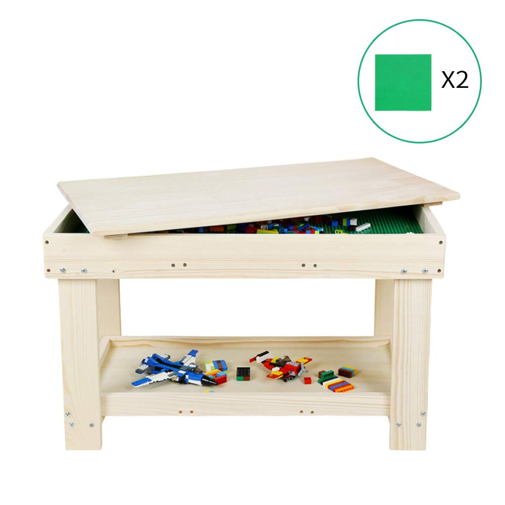 YouHi Kids Activity Table with Board for Bricks Activity Play Table (Wood Color) by YouHi