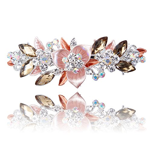 Price comparison product image Special Beauty Nice Newest Flower Hair Barrettes NEW Women's fashion Full Diamond Crystal Hairpin Hair Clips Female Alloy Big Hairpins Headdress. orange 4