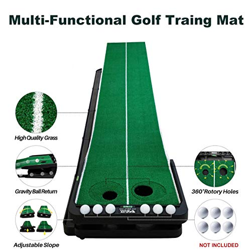 Crestgolf Slope-adjustablity Golf Putting Mat Green Indoor Outdoor Auto Ball Return Professional Portable Putting Trainer Set Mini Training Aids for Home Use - Extra Long 9.84 Feet