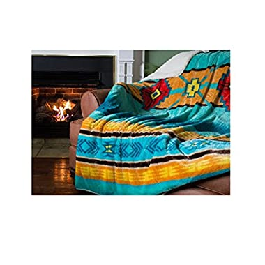 1 Piece 60x80  Tribal Blue Southwest Throw Blanket, Oversized Southwestern Native Bedding Sofa Couch, Indian Themed American Motifs Fleece Polyester, Teal Orange Yellow Tan Red, Aztec Pattern, Cabin