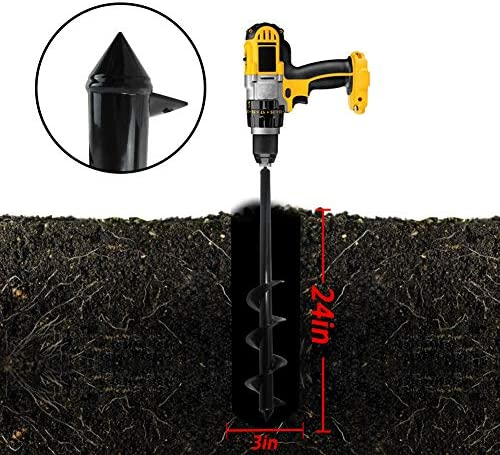 """Garden Auger Drill Bit 3x24inch Garden Auger Spiral Drill Bit Rapid Planter for 3/8"""" Hex Drive Drill - for Tulips, Iris, Bedding Plants and Digging Weeds Roots"""