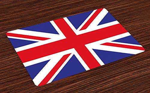 (Ambesonne Union Jack Place Mats Set of 4, Classic Traditional Flag United Kingdom Modern British Loyalty, Washable Fabric Placemats for Dining Table, Standard Size, Blue Red)