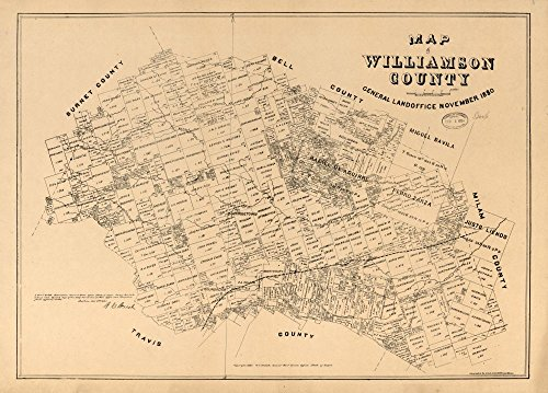 - Vintage 1880 Map of Map of Williamson County - Shows land ownership. -