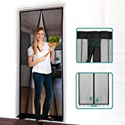 """#LightningDeal Homitt Magnetic Screen Door with Heavy Duty Mesh Curtain and Full Frame Hook&Loop, Hands Free, Pet and Kid Friendly, 32""""-38""""W x 83""""H, Black"""