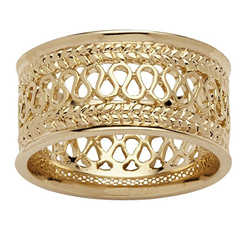 14k Yellow Gold-Plated Open Weave Decorative Ring (Ring Shank Open)