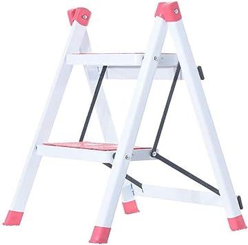 BBG Escalera Plegable para el Hogar, Escalera Metálica de Dos Pasos, Escalera en Espiga, Taburete para Escalar en la Cocina con Soporte de Flores, Pedal para Escalera para Mascotas,Rosado: Amazon.es: Bricolaje y