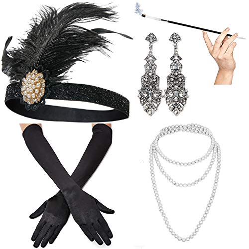 1920s Accessories Set Headband,Necklace,Gloves,Cigarette Holder and Feather boa
