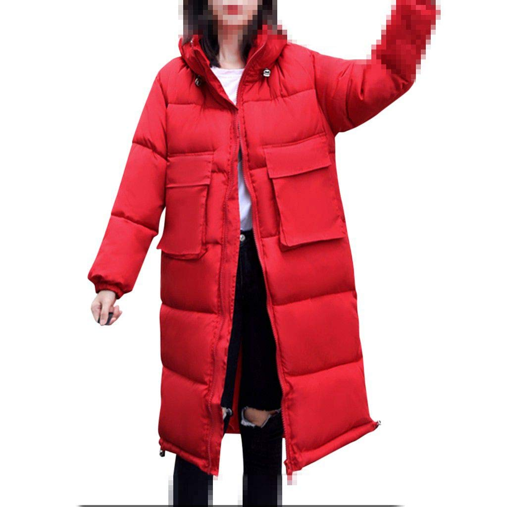 Dainzuy Down Jacket Women Cold Weather Winter Warm Parkas Coat Solid Zipper Cotton Padded Thicken Outerwear Overcoat Red by Dainzuy Womens Outerwear