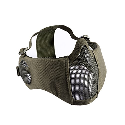 "OneTigris 6"" Foldable Half Face Airsoft Mesh Mask with Ear Protection, Military Tactical Lower Face Protective Mask (OD Green)"