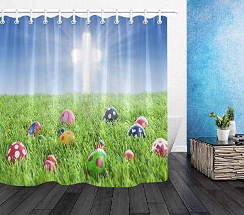 LB Happy Easter Shower Curtain,Colorful Eggs in Grass with Shiny Cross Shower Curtains for Bathroom Waterproof Fabric 60x72 Inch with Hooks