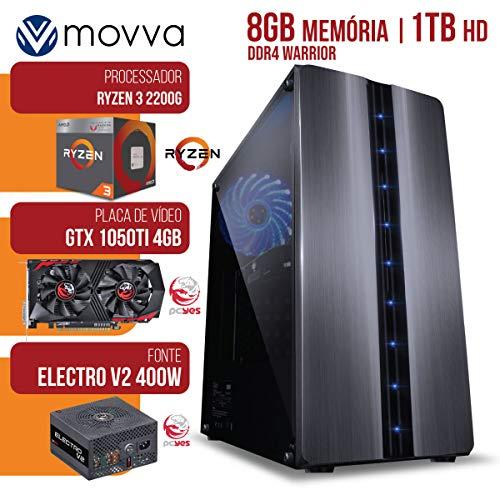 COMPUTADOR GAMER AMD RYZEN 3 2200G 3.5GHZ MEM.8GB HD 1TB GTX 1050TI 4GB GDDR5 FONTE 400W - MVX3A3201T81050 - MOVVA
