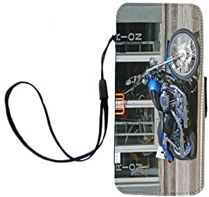 Rikki KnightTM Harley Davidson Blue Design PU Leather Wallet Type Flip Case with Magnetic Flap and Wristlet for Apple iPhone 5 &5s by Maris's Diary