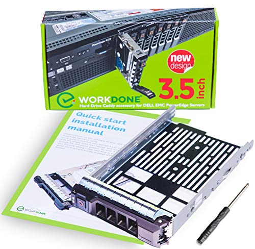 (WorkDone 3.5 inch Hard Drive Caddy Tray Compatible for Dell PowerEdge Servers - SAS SATA HDD Adapter Sled - Handle Busy Schedule - with Detailed Installation Manual - Your Saved Time is Priceless)