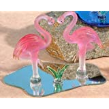 Unison Gifts VT-7363 Crystal Glass Heart Shaped Flamingos Decoration Display Figurine