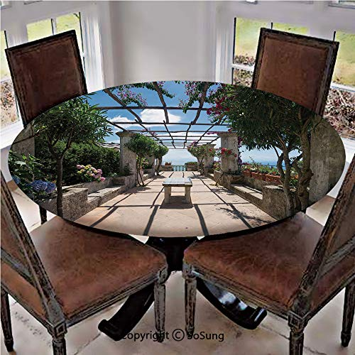 Elastic Edged Polyester Fitted Table Cover,Beautiful Panorama Villa Rufolo Ravello Amalfi Coast Historical Famous Nature,Fits up 40
