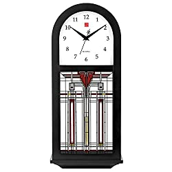 Bulova Harley Bradley C4836 Frank Lloyd Wright Thistle in Bloom Chiming Wall Clock, 15.75, Ebony