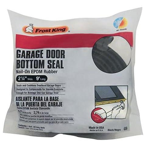 Frost King G9 Nail-On Rubber Garage Door Bottom Seal, 2-1/4-Inch by 9-Foot, Black - Garage Door Bottom