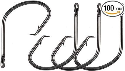 100Pcs//box Octopus Circle Fishing Hook Offset High Carbon Steel Black Fishhooks