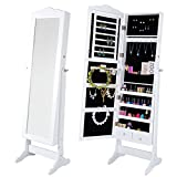 Lifewit Lockable Full Length Mirrored Jewelry Cabinet, Wall Door Mounted Bedroom Armoire, Makeup Organizer with LED Light (White with stand)