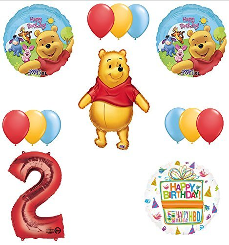 Winnie The Pooh 2nd First Birthday Party Supplies and Balloon Bouquet Decorations -