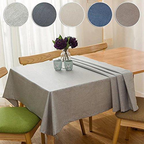 Bringsine Solid Cotton Linen Tablecloth Stain Resistant/Spil