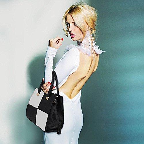 LeahWard® Genuine Kunstleder Tote Schultertasche Damen Groß Essener Groß Prüfen Taschen 153 Große Größe Schwarz/Weiß