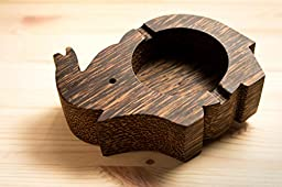 Ashtray cigar holder stand elephant made from palm wood for your indoor and outdoor decoration