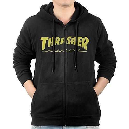 LetBiBi Hoodie Sweatshirt Men's Thrasher Mag Logo Long Sleeve Zip-up Hooded Sweatshirt Jacket Black