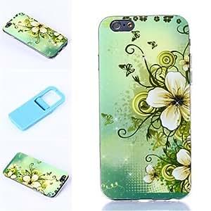 HC-Fondo verde claro florece patrón de silicona suave cubierta y mini Diaplay soporte para el iPhone 6