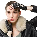 Nappaglo Women's Classic Half Finger Leather Driving Gloves Fingerless Lambskin Fitness Outdoor Unlined Gloves (S (Palm Girth:6.5'-7'), Black)