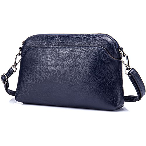 Lecxci Small Womens Lady's Soft Leather Crossbody Travel Smartphone Bag Wristlets Clutch Wallet Purse (Lichee Pattern, Blue) Navy Leather Bag