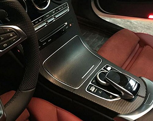 Car control panel carbon fiber decorative stickers for Mercedes benz C class C200 C300 (black)