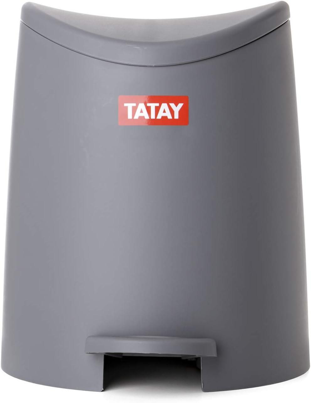 Conjunto Cubo de Ba/ño con Pedal de 3L y Escobilla WC Color Beige Gama Standard Tatay