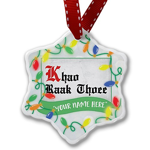 Personalized Name Christmas Ornament, I Love You ThaI Classic Print from Tailand NEONBLOND by NEONBLOND