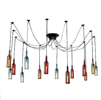 Botellas de Vino de Vidrio Spider Light 15 Luces Colgantes ...