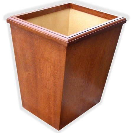Wooden Wastebasket In Anitque Mahogany Veneer And Solids Small Size 13Qt. (Without Liner)