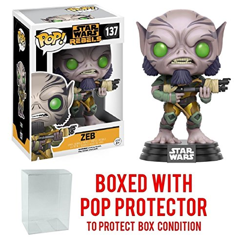 Funko Pop! Star Wars Rebels: Zeb #137 Vinyl Figure (Bundled with Pop BOX PROTECTOR CASE)