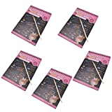 Baosity Scratch Off Colour Rainbow Paper Sketchbooks Art Drawing Notebook Perfect Kids' Gift - 5 PCS - Pink