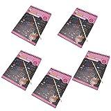 Baosity Scratch Off Colour Rainbow Paper Sketchbooks Art Drawing Notebook Perfect Kids' Gift - 5 PCS - Pink