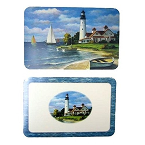 CounterArt 4 Lighthouse Mural Reversible Washable Plastic Nautical Theme Placemats - Lighthouse Place