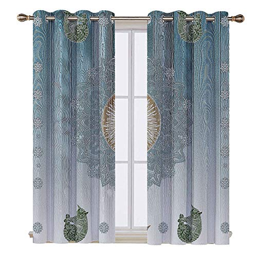 SATVSHOP Waterproof Window Curtain- 72W x 45L Inch-Draperies for Bedroom.Hippie Pagan Sun Figure with Cats Spiritual Sacred elax Belief Totem Zen Boho Display Navy Blue. ()