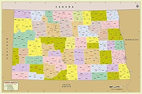 Mapa con código de cremallera del condado de Dakota del Norte (48
