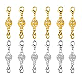 Dsmile Magnetic Jewelry Clasps Rhinestone Ball Style for Jewelry Necklace Bracelet,10 mm Gold/Silver Plated 12 Sets