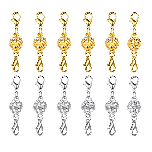 Dsmile Magnetic Jewelry Clasps Rhinestone Ball Style for Jewelry Necklace Bracelet,10 mm Gold/Silver Plated 12 -