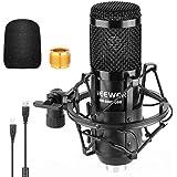 Neewer Micrófono USB 192 KHz / 24 bits Plug & Play Computadora Cardioide Mic Podcast Micrófono de condensador con chipset de sonido profesional para transmisión en vivo / YouTube / Grabación de juegos / Voz en off (Negro) (NW-8000-USB)