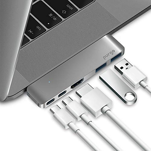 - Purgo USB C Hub Adapter Dongle for MacBook Air 2018/2019, MacBook Pro 2019/2018-2016, Ultra Slim Type C Hub with 4K HDMI, 100W Power Delivery, 40Gbps Thunderbolt 3 5K@60Hz and 2xUSB 3.0 (Space Grey)