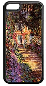 Claude Monet's Pathway in a Garden- Case for the Case Cover For Apple Iphone 5C - Hard Black Plastic Snap On Case