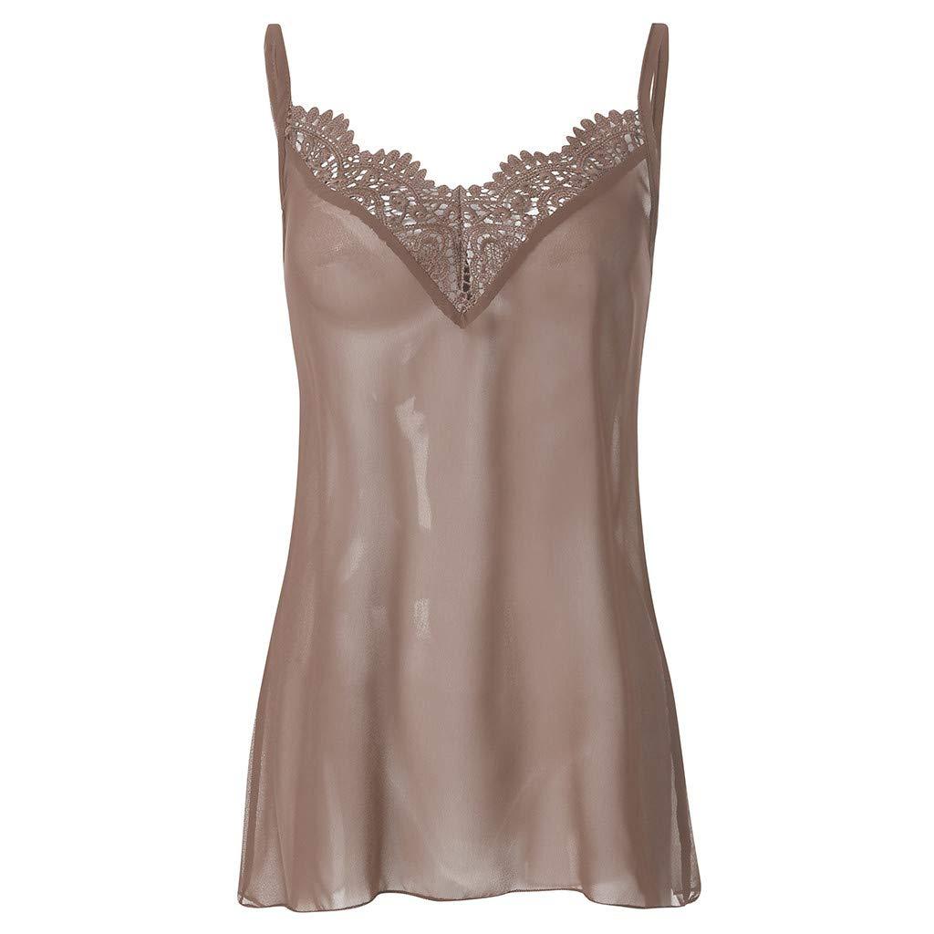 Leoy88 Women Lace Vest Sleeveless Loose Camisole Casual V-Neck Tank Tops Blouse Khaki